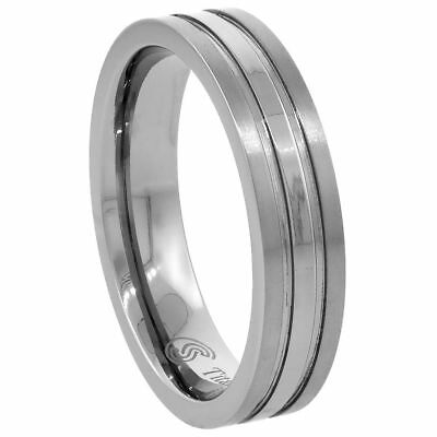 5mm Titanium Stripe Center Comfort Fit Flat Wedding Band - 5mm Flat Band Ring
