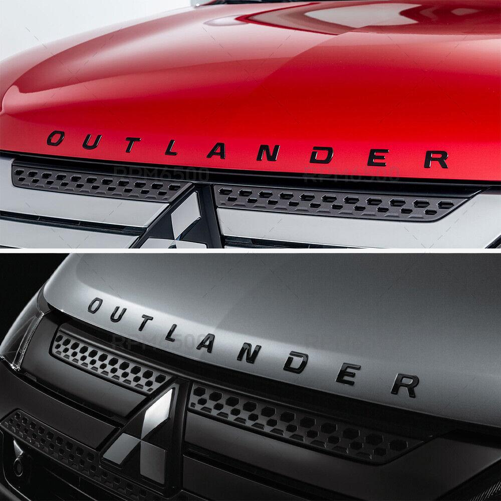 ::For Mitsubishi Outlander Hood Letter Logo Badge Nameplate Emblem Sport Black