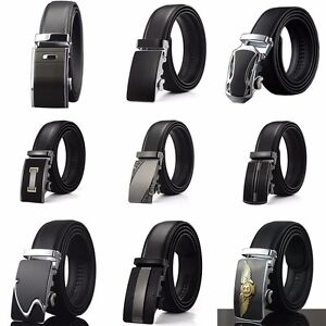 Fashion-Mens-Belt-Black-Automatic-Buckle-Genuine-Leather-Waist-Strap-Belts-8888