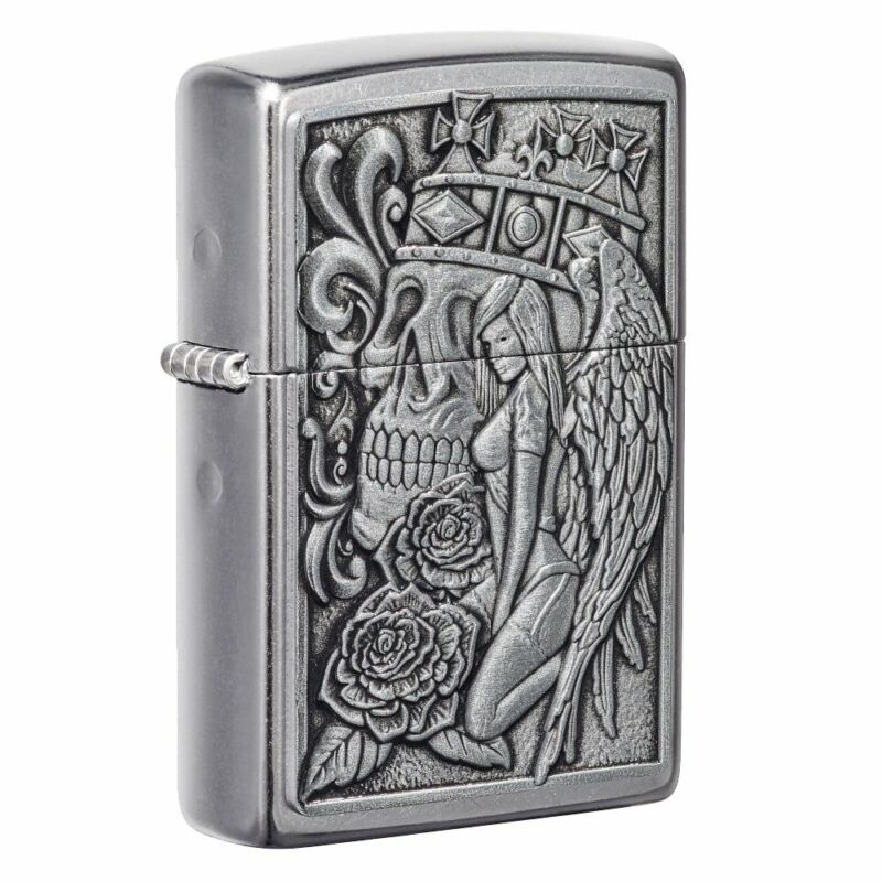 Zippo Skull and Angel Emblem Street Chrome Pocket Lighter, 49442