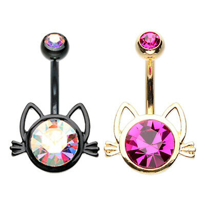 Cat Dangle Belly Button Ring - Golden & Blackline Cat Face Silhouette Non Dangle Belly Button Ring