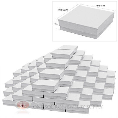 """100 White Swirl Cardboard Cotton Filled Jewelry Gift Boxes 3 1/2"""" x 3 1/2"""" x 1"""""""