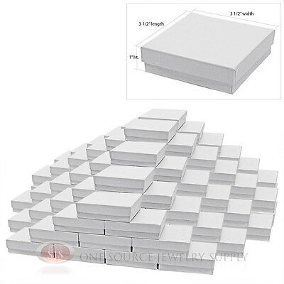 100 White Swirl Cardboard Cotton Filled Jewelry Gift Boxes 3 12 X 3 12 X 1