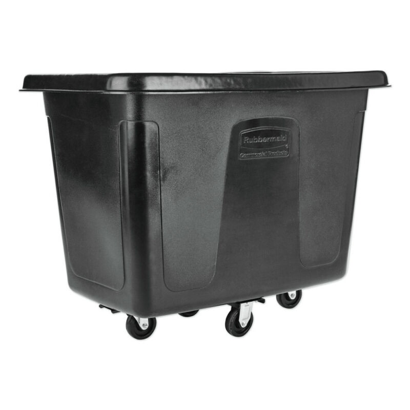 Rubbermaid Commercial RCP461200BLA 12 cu. ft. Metal Frame Cube Truck - Black New