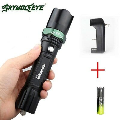 20000LM 3-Mode CREE T6 LED Bright Flashlight+18650+Charger Zoomable Adjustable D