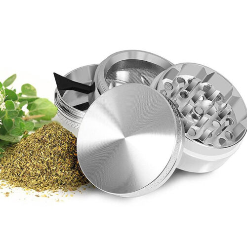 4 Piece Magnetic 1.5 Inch Silver Tobacco Herb Grinder Spice Aluminum With Scoop Cigars