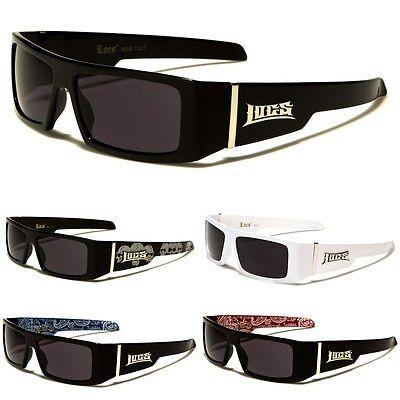 LOCS Rectangular Gangster Black Shades Mens Designer Sunglasses New Dark Lens (Gangster Black)