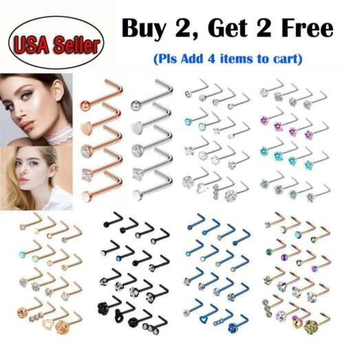 5pc/16pc L Shape Nose Ring Studs Stainless Steel CZ Gem Nose