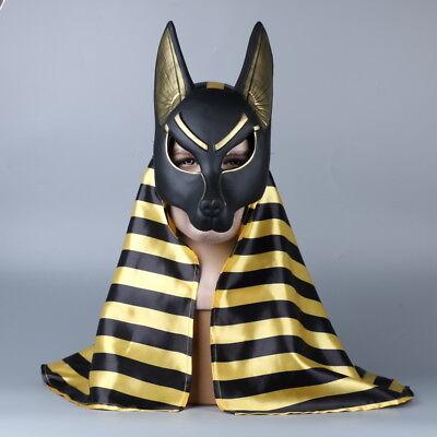 Egyptian Anubis Cosplay Masks Headscarf PVC Jackal Wolf Head Animal Halloween (Egyptian Jackal Mask)