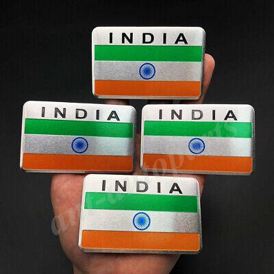 4x Aluminum India Indian Flag Car Emblem Badge Motorcycle Sticker Decals Fairing