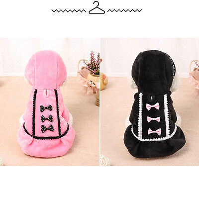Christmas Bow CuteDog Coat Jacket Pet Clothes Winter Warm Apparel Puppy Costume