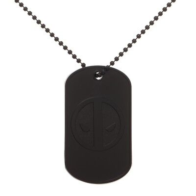 Deadpool Dog Tag Chain Necklace Marvel Comics Official Licensed Black on Black