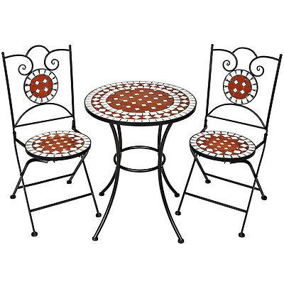 Conjunto de muebles de jardín mosaico mesa con sillas terraza metal cerámica...
