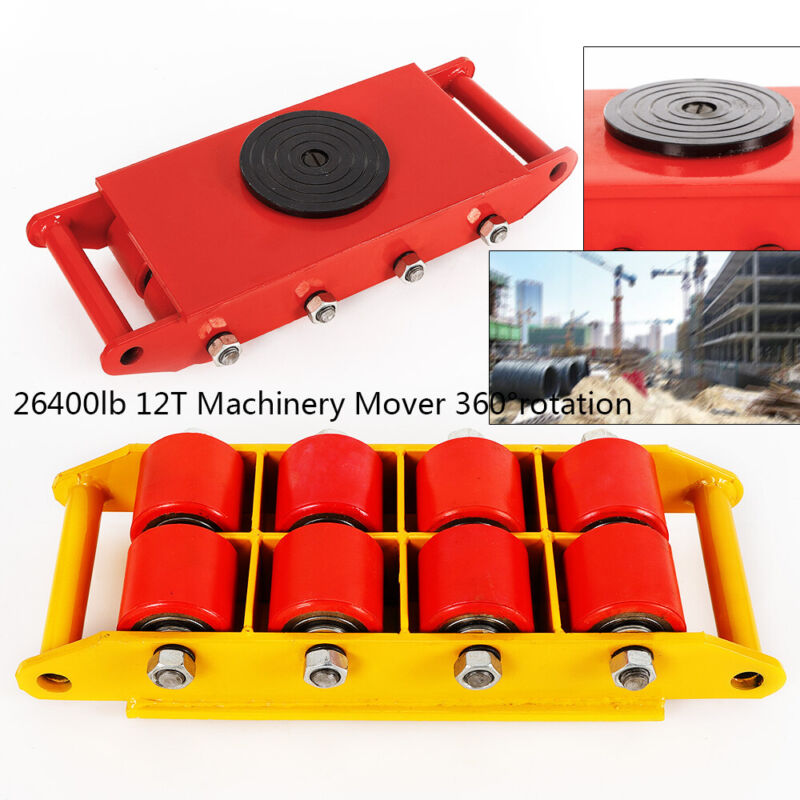 Heavy Duty Machine Dolly Skate Roller Machinery Mover 26400lb 360°Rotation Cap