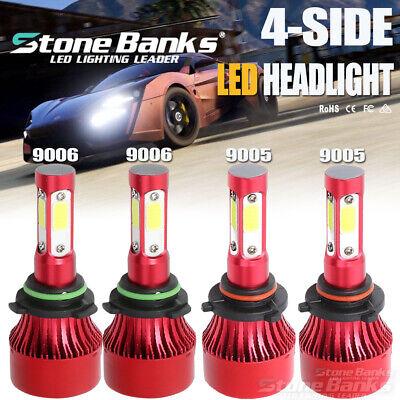 4Sides 9005+9006 LED Headlight Kit 6000K 144W 320000LM High+Low Beam Headlamp 2008 Nissan Armada Replacement