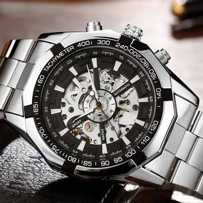 Mens Classic Transparent Luminous Business Skeleton Mechanical Steel Wrist Watch