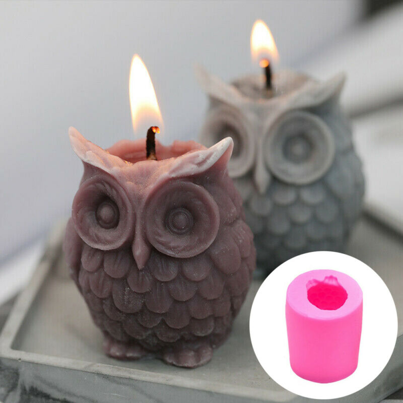 3D DIY Silicone Owl Bird Candle Molds Soap Mold Craft Wax Resin Mould Hobby