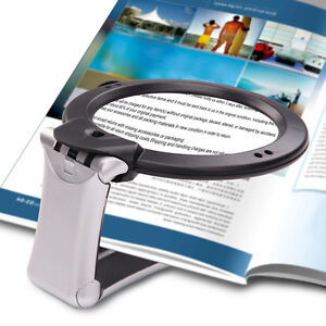 6X Large Magnifying Glass With Light LED LAMP Magnifier Hands Free