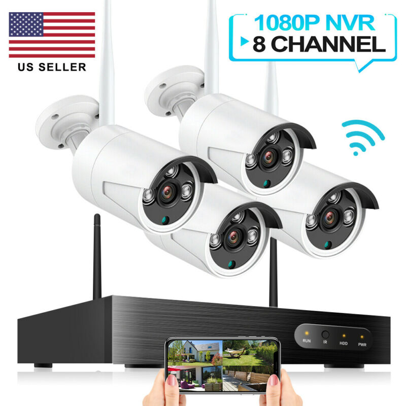 Wireless Security WIFI Camera System 1080P 8CH Outdoor 4PCS NVR CCTV HD IR Cam
