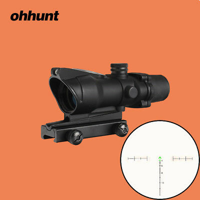 Ohhunt 4x32 ACOG Style Scopes Chevron Reticle Real Fiber Green Illuminated Sight