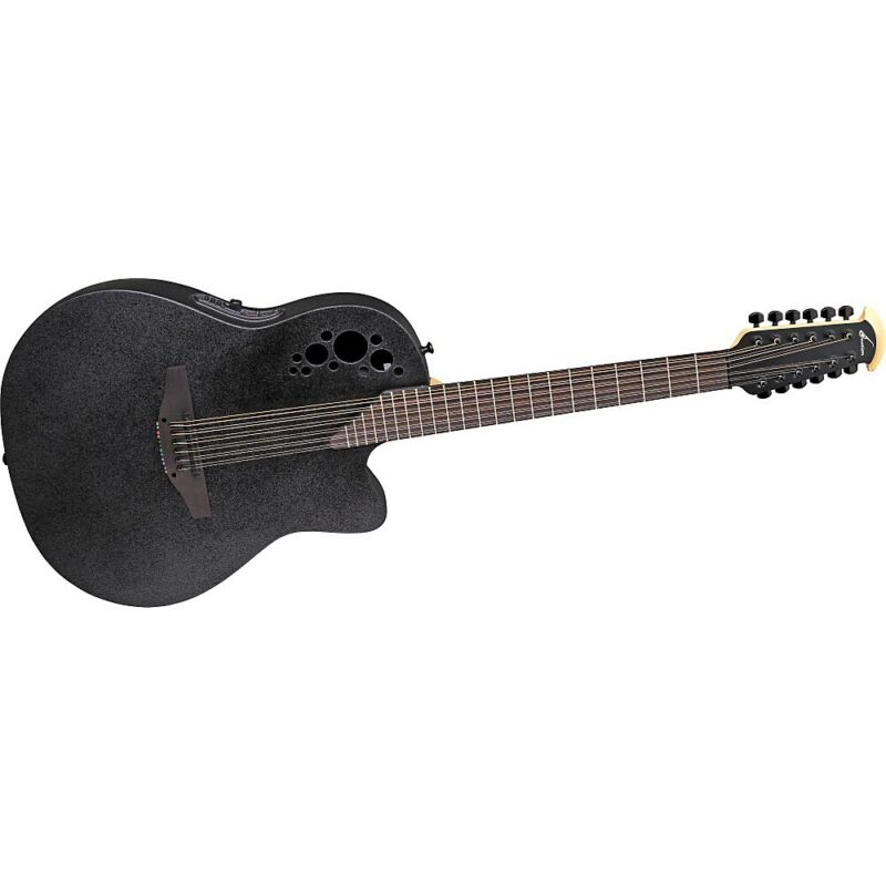 Ovation Elite 2058 TX 12-String Acoustic-Electric Guitar with Hardshell Case Blk