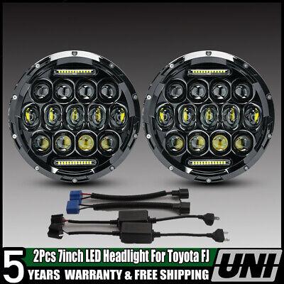 Fits 07-2014 Toyota FJ Cruiser 75W Inch Front LED Headlights DRL Lights Hi/Lo 2007 Toyota Fj Cruiser