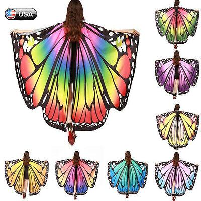 Butterfly Costume Women (Women Butterfly Wings Shawl Scarves Fashion Nymph Pixie Poncho Costume)