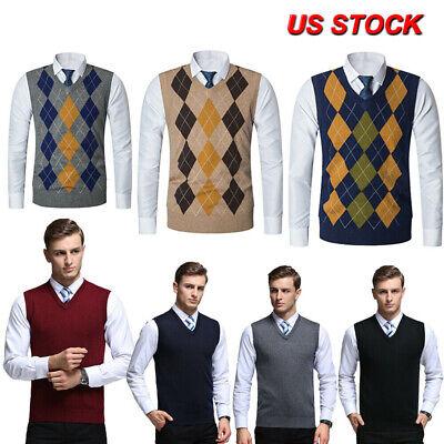 Mens Knit Sweater Argyle Vest Sleeveless Jumper V-Neck Pullover Slim Fit Tops Knit Sweater Vest