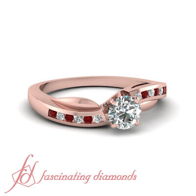 .85 Ct Round Cut Diamond Rings With Ruby Gemstone Channel Set In Rose Gold GIA