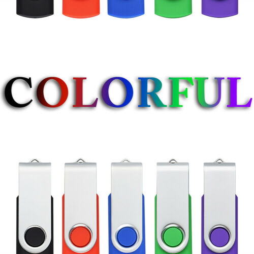 5 Pack 1GB-64GB USB 2.0 Flash Drive Rotating Memory Stick Th