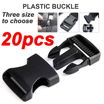 Release Buckle - 20X Plastic Black Strap Webbing Side Release Buckle Clasp Craft 1'' 3/4'' 3/5''