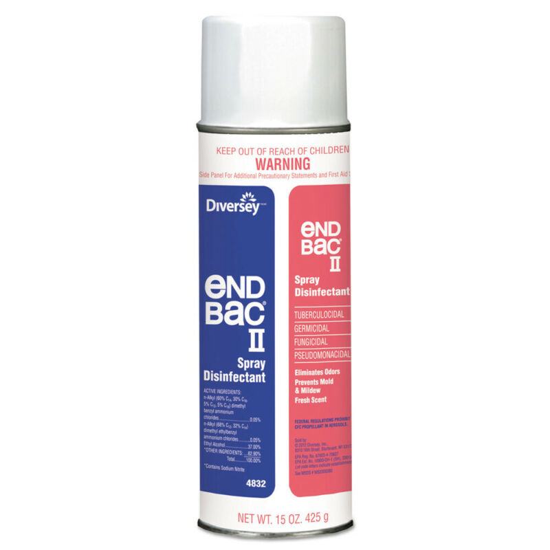 Diversey 4832 End Bac Ii Spray Disinfectant, Unscented, 15 Oz Aerosol, 12/ct new