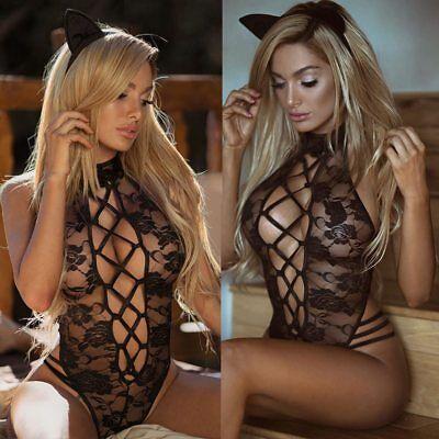 Frauen Sexy Spitze Katzenkostüm Nachtwäsche Erotik Dessous Seduce Me - Sexy Katze Frau Kostüm