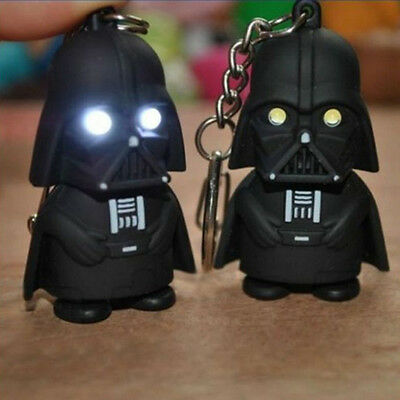 White Light Up LED Star Wars Darth Vader With Sound Keyring