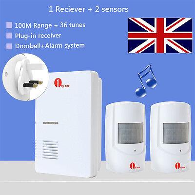 PIR Motion Sensor Alarm Wireless Doorbell Chime Waterproof With 2 Sensors