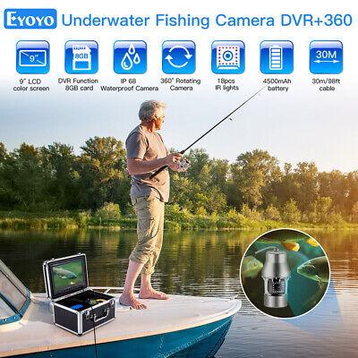 "Eyoyo 360° Underwater Fishing Camera 9"" 30M 8GB Fish Finder 1000TVL Waterproof"
