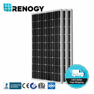 3pcs RENOGY 100 Watt 100w Monocrystalline Photovoltaic PV So
