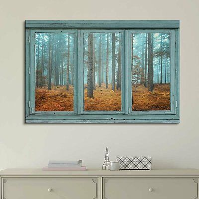 Window Looking Out Into a Blue Foggy Forest During Fall Time- Canvas Art - 36x48