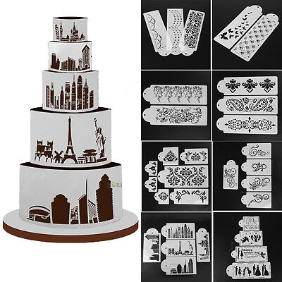 (DIY Cake Cookie Fondant Lace Flower Side Baking Wedding Stencil Decorating Tools)