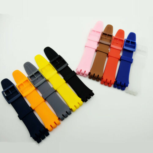 Replacement Silicone Rubber 17mm 19mm Wristwatch Bands Strap