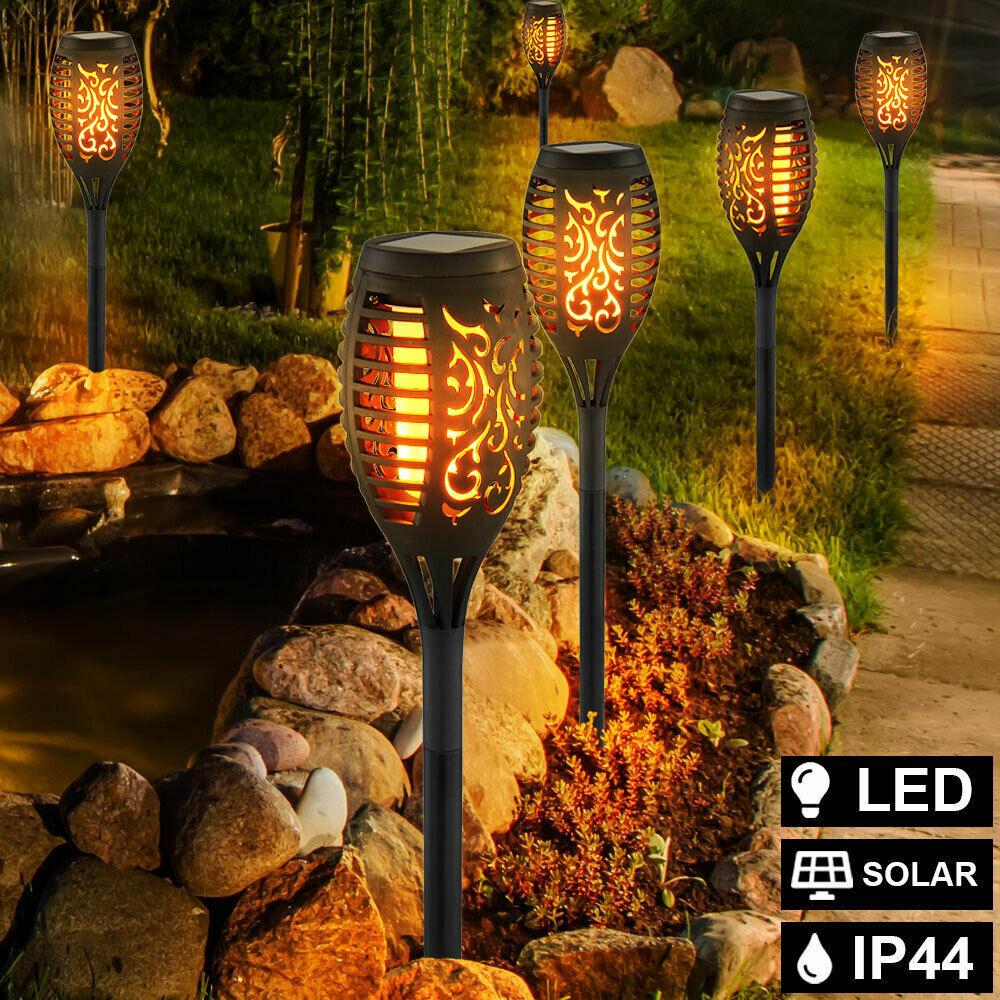 4//6//10x Solar Power Torch LED Lights Flickering Flame Garden Pathway Yard Lamp