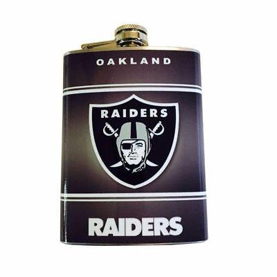 (Oakland Raiders Hip Flask Stainless Steel 8oz Football Liquor Whiskey Vodka)