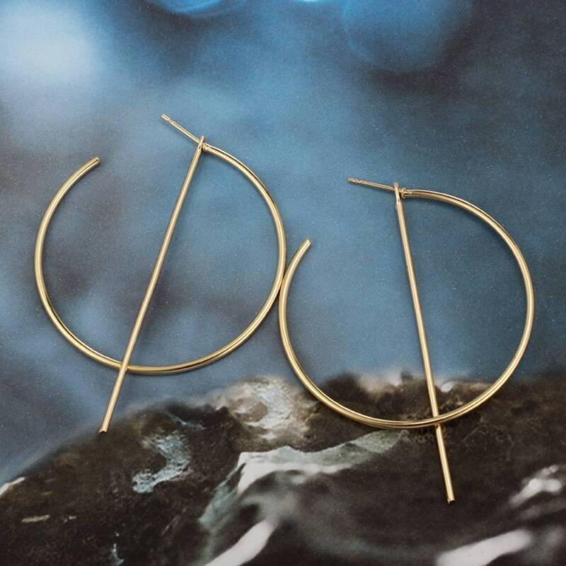 1 Pair Women Dangle Hoop Earrings Jewelry Big Round Circle Line Ear Stud