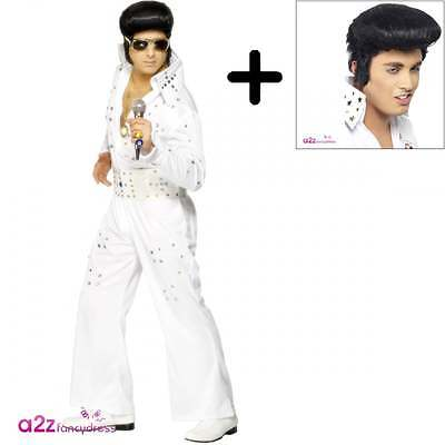 Mens Elvis Presley COSTUME + WIG Official Adult 50s Rock Star Fancy Dress Outfit](50s Outfits For Men)