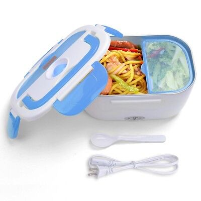 1.5L Portable Electric Heated Lunch Box Travel Food Storage Warmer Blue 40W 110V