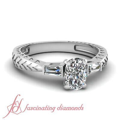 Tapered Baguette Engagement Ring 0.60 Ct Cushion Cut VVS2 Diamond GIA Certified