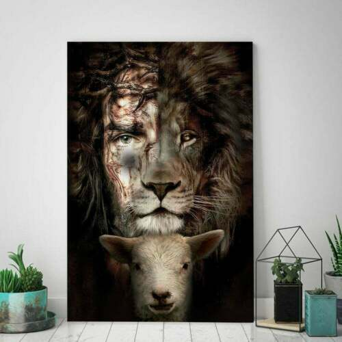 Jesus Lion And Lamb Poster, The PerfectLion Of Judah Print poster, Wall Decor