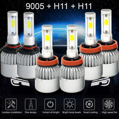 9005+H11+H11 LED Headlight Kit Hi/Lo+Fog Lights for Honda Accord 2013-2015 4500W