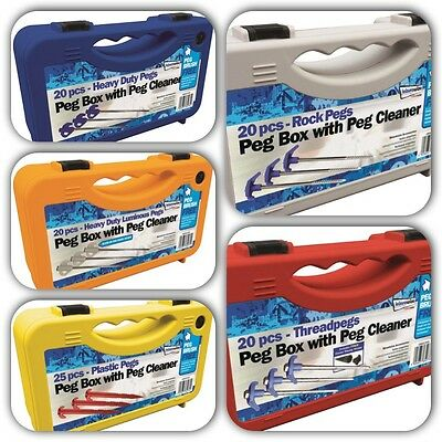 Heavy Duty Camping Awning Tent Travel Pegs Set + Storage Case Box + Peg Cleaner ()