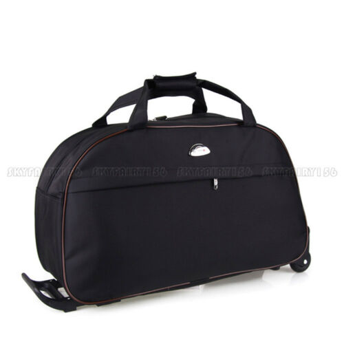 Black Rolling Tote Bag Duffle Wheeled Carry On Luggage Travel Suitcase w/ Wheels